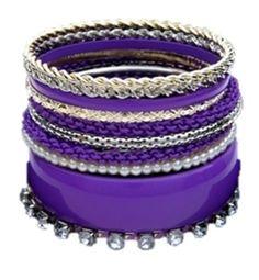 Fashion Purple Multi Line Bangles / Bracelet / AZBGFB002-GPU  Price : $25.00 http://www.arrascreations.com/Fashion-Purple-Bangles-Bracelet-AZBGFB002-GPU/dp/B00C16MMUC