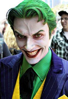 Amazing mens Halloween makeup for Batman's villain, the Joker.