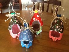 Bird houses made of plastic bottles by my mother, awesome collors!