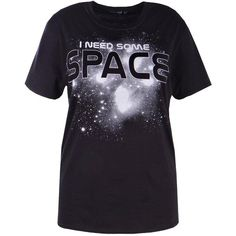 "Boohoo Plus Kelly """"I Need Some Space"""" Printed Tee (135 DKK) via Polyvore featuring tops, t-shirts, cropped tops, off shoulder crop top, off shoulder t shirt, jersey crop top and off the shoulder t shirt"