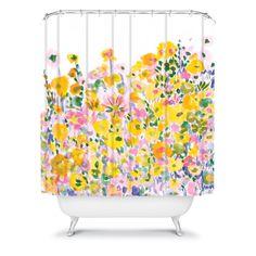 Amy Sia Flower Fields Sunshine Shower Curtain