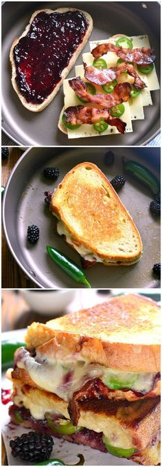 Blackberry Bacon Grilled Cheese is the perfect combination of savory and sweet! Swiss cheese, blackberry jam jalapenos and bacon are in this best grilled cheese recipe! Think Food, I Love Food, Good Food, Yummy Food, Soup And Sandwich, Sandwich Recipes, Grilled Sandwich Ideas, Best Appetizers, Appetizer Recipes