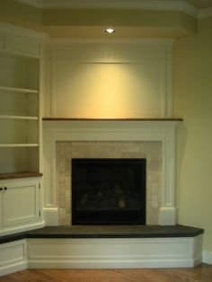Gas Corner Fireplace for 2020 - Residential, corner fireplace – smaller in the basement…Idea. -Natural Gas Corner Fireplace for 2020 - Residential, corner fireplace – smaller in the basement…Idea. - Built in Entertainment Centers, fireplace Corner Fireplace Mantels, Fireplace Built Ins, Small Fireplace, Farmhouse Fireplace, Fireplace Remodel, Living Room With Fireplace, New Living Room, Fireplace Ideas, Fireplace Candles