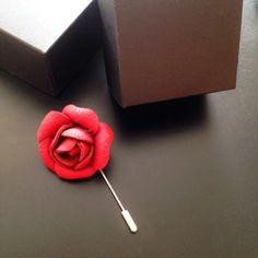 Leather Rose Lapel Pins, Icing, Rose, Leather, Pink, Roses, Badges