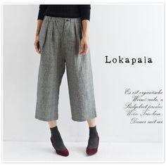 【Lokapala ロカパラ/ローカパーラ】<br>リネン グレンチェック ワイド クロップド パンツ(lp160739)