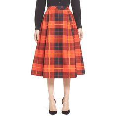 katespade new yorkwoodland plaid midi skirt ($368) ❤ liked on Polyvore featuring skirts, fairytale red, tartan skirt, midi skirt, gathered skirt, red tartan skirt and red knee length skirt