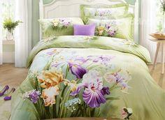 Lifelike Charming Iris #3D Print 4-Piece Cotton Duvet Cover Sets