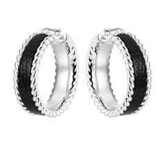 Safari Black Leather Hoop Earrings from Arthur Court in Gainesvile, FL from Kitchen & Spice