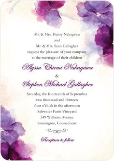 A wedding invitation with watercolor florals is perfect for spring and summer. Find more invitations, save the dates, and reception stationery at www.weddingpaperdivas.com.