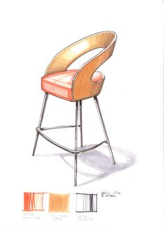 Av's sketch of a balding man in the Eames' wire frame chair, drawn at World . - Av's sketch of a balding man in the Eames' wire frame chair, drawn at World of Charles and Ray - Interior Design Sketches, Industrial Design Sketch, Sketch Design, Chair Design, Furniture Design, Furniture Sketches, Ecole Design, Chair Drawing, Metal Bar Stools