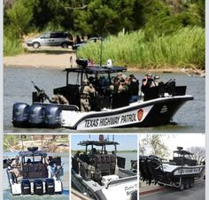 The Texas Highway Patrol on the Rio Grande River.