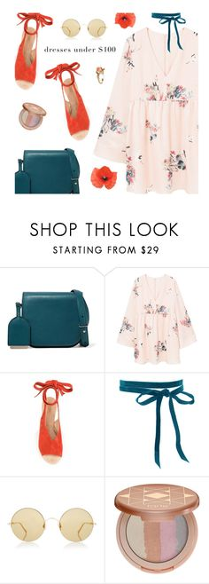 """Dresses Under $100"" by magdafunk ❤ liked on Polyvore featuring Maison Margiela, MANGO, Derek Lam, Sunday Somewhere, tarte, Vintage, Wedges, sunnies, floraldress and under100"
