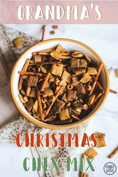 You can never go wrong with a recipe handed down from Grandma. This festive Christmas Chex mix recipe is a perfect rich and salty snack to share with the whole family this Christmas season. Christmas Mix, Christmas Snacks, Christmas Appetizers, Holiday Treats, Christmas Baking, Holiday Recipes, Christmas Recipes, Christmas Candy, Holiday Baking