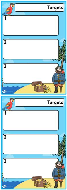 Twinkl Resources >> Pirate Themed Editable Pupil Target Sheets  >> Thousands of printable primary teaching resources for EYFS, KS1, KS2 and beyond! pirate, pirate themed, target sheets, target templates, pupil targets, editable, coloured, parrot,