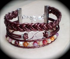 Infinity leather bracelet made by Dizzy Bees, find Dizzy Bees on Facebook to order!