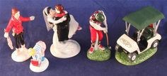 Lot of Five Original Snow Village Partials Ballet Class Just Married First Round