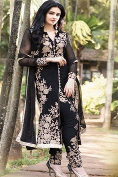 Buy Black Embroidered Dress