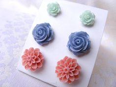 Pale nude flowers blue mint peach salmon by artemisartdesign, $12.00