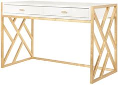 WORLDS AWAY CORDELIA WHITE LACQUER DESK WITH GOLD LEAF LATTICE