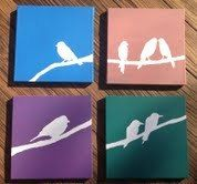 Set of 4 Acrylic Bird Paintings | eBay