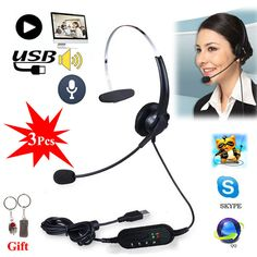 Free shipping!3Pcs Headset Surround Stereo Headband Headphone USB 2.0 With Mic Earpiece For PC