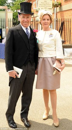 Stunning: Viscountess Serena Linley arrived on the arm of her husband, David Armstrong-Jones, Viscount Linley, while Lady Helen Taylor was bold in brights