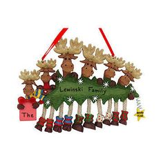 Personalized Six Moose Family with Tree Ornament
