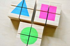 DIY shape cube toddler puzzles at How we Montessori Puzzles For Toddlers, Toddler Puzzles, Toddler Toys, Toddler Activities, Diy Montessori Toys, Montessori Toddler, Toddler Learning, Montessori Bedroom, Maria Montessori