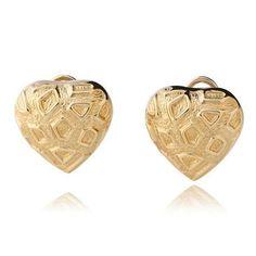 Par de Brinco Coração de Ouro - - Medalhão Persa