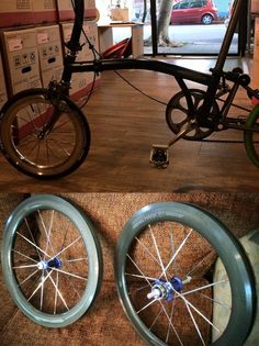 ANDOZA customised hawk b1 for brompton 1s-2s ,Royal blue hubs, orange sweet nipples, carbonized hard wear resistant carbon grey seamless Alloy wheel sets, high profile wheel sets, elegant and cool style