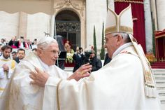 Pope Francis declared his two predecessors John XXIII and John Paul II saints on Sunday April 27, 2014 before hundreds of thousands of people in St. Peter's Square, an unprecedented ceremony made even more historic by the presence of retired Pope Benedict XVI.