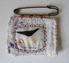 hand painted/stitched brooch by hens teeth, via Flickr