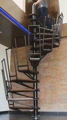 41 New ideas attic stairs spiral stairways Tiny House Stairs, Loft Stairs, Spiral Staircase, Staircase Design, Folding Furniture, Furniture Design, Interior Stairs, Interior And Exterior, Folding Attic Stairs