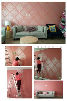 Love Birds Lace Damask Stencil : Large Stencil Art for Feature Wall - Damask Pattern Wallpaper Wall Stencils by Royal Design Studio Stencils - Before and After Living Room Makeover Project by May El Monton Damask Wallpaper Living Room, Wallpaper Wall, Pattern Wallpaper, Interior Wallpaper, Trendy Wallpaper, Wallpaper Ideas, Wall Stencil Patterns, Damask Stencil, Stencil Art