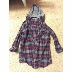 Flannel w/ Hood Worn twice! Hood comes off, smoke and pet free! Tops Button Down Shirts