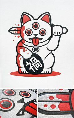 fuck yeah maneki neko — gojyochan: Ever wonder what the opposite of a. Tattoo Sketches, Tattoo Drawings, Art Drawings, Omg Posters, Japanese Tattoo Art, Maneki Neko, Neko Cat, Arte Horror, Japan Art