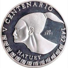 Moneda 3 onzas de plata 30 pesos Cuba Hatuey 1991.