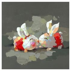 Adorable! - Bunny Kiss Canvas Oil Painting