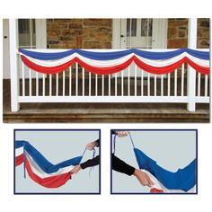 Nothing says patriotic like our red, white, and blue Patriotic Fabric Bunting! Red, white, and blue bunting stretches 5ft. 10in. Polyester. Adjustable drawstrings to make desired shape! Just the decor                                                                                                                                                                                 More