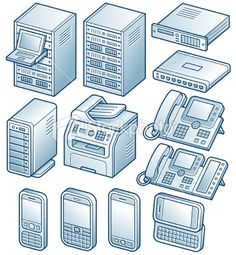 network diagram and hardware component vector illustrations server - Network Diagram Icon