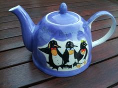 "WHITTARD OF CHELSEA Posh Penguins Paint the Town Red ""Chin Chin"" Teapot"