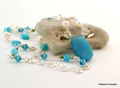 Ocean blue Agate Freshwater Pearl and Swarovski by Eleksmom, $21.00