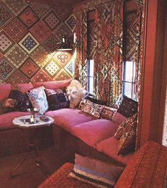Fabulous 70s Living Room with Matching Wallpaper and Curtains