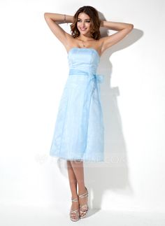 Bridesmaid Dresses - $94.29 - A-Line/Princess Strapless Knee-Length Organza Bridesmaid Dress (007001803) http://jjshouse.com/A-Line-Princess-Strapless-Knee-Length-Organza-Bridesmaid-Dress-007001803-g1803