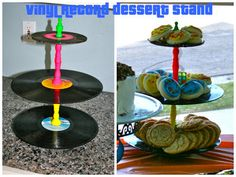 Vinyl Desert and snack stands 80s Birthday Parties, 30th Birthday, 80s Theme, Retro Party, Disco Party, Party Planning, Party Time, Decoration, Dessert Stand