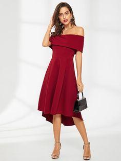 Off Shoulder Ruffle Solid Dress. Dress PParty DressDress OutfitsShoulder  DressOff The ShoulderElegant Style WomenElegant ... 7d46383fb4af