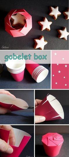 Voor Daantjes traktatie (met kokostablet en bloemenzaadjes...)Cadeauverpakking maken van papieren bekertjes
