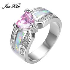 JUNXIN Elegancki Różowy Serce Kobiece Opal Pierścionek z Białego Złota Wypełnione Biżuteria Vintage, Zaręczyny Obrączki Dla Kobiet