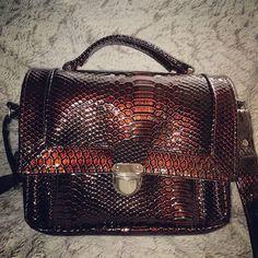 lestrésorsConstanceClémentine sur Instagram: Un petit sac de forme cartable qui m'a réconcilié avec le simili dragon. Marron métallisé, brillant, bien épais. Avec son compagnon…