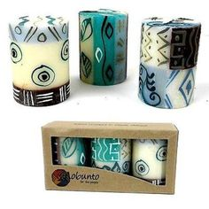 Set of Three Boxed Hand-Painted Candles - Maji Design Handmade and Fair Trade